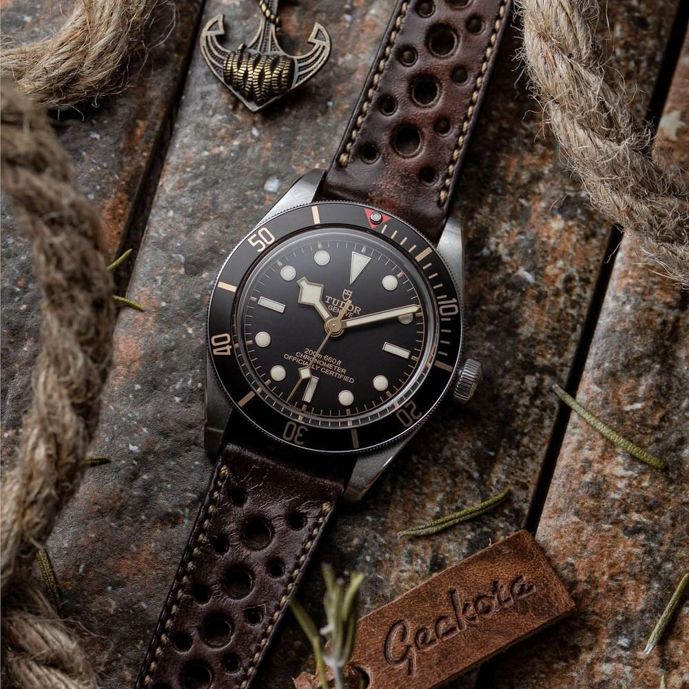 KLOCKARMBAND - GECKOTA RADSTOCK RACING - VINTAGE DARK BROWN - ROYAL STRAPS