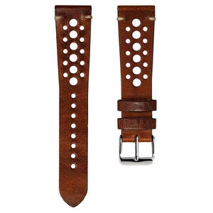 KLOCKARMBAND - GECKOTA VINTAGE RACING - BROWN - ROYAL STRAPS