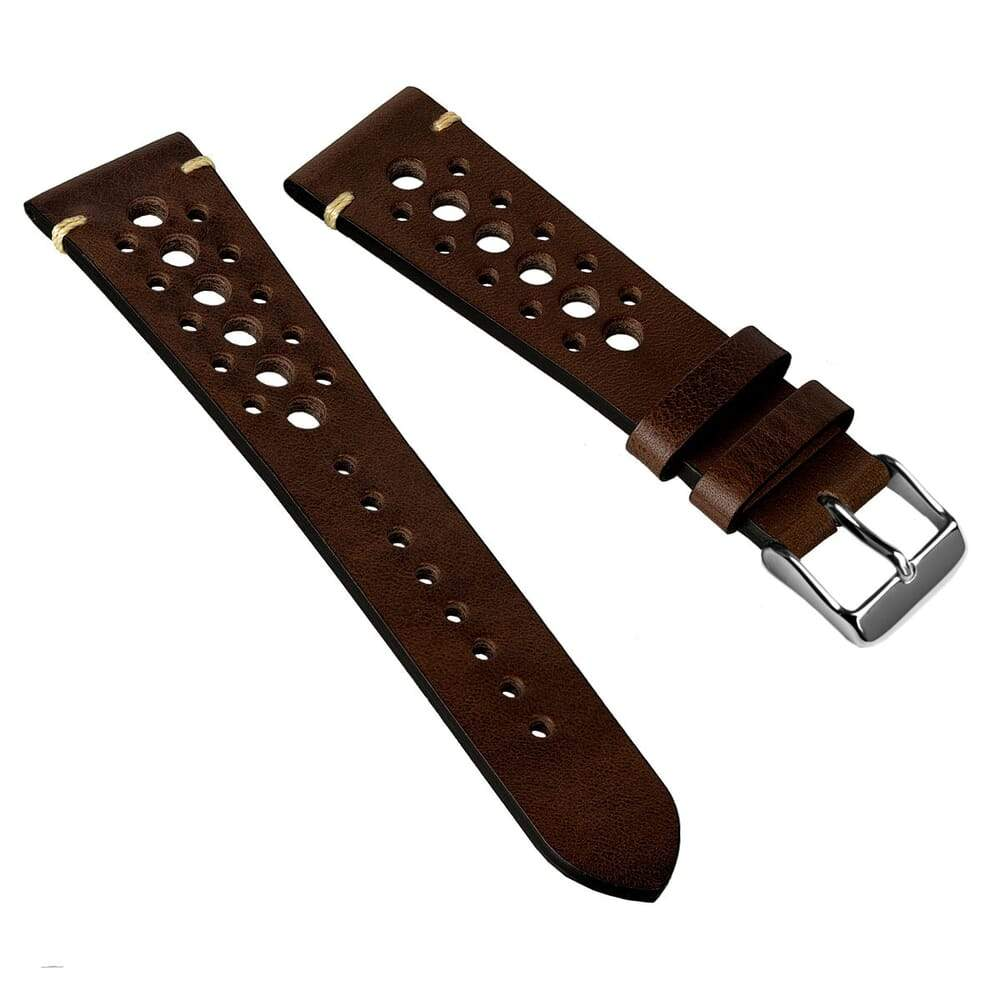 KLOCKARMBAND - GECKOTA VINTAGE RACING - DARK BROWN - ROYAL STRAPS