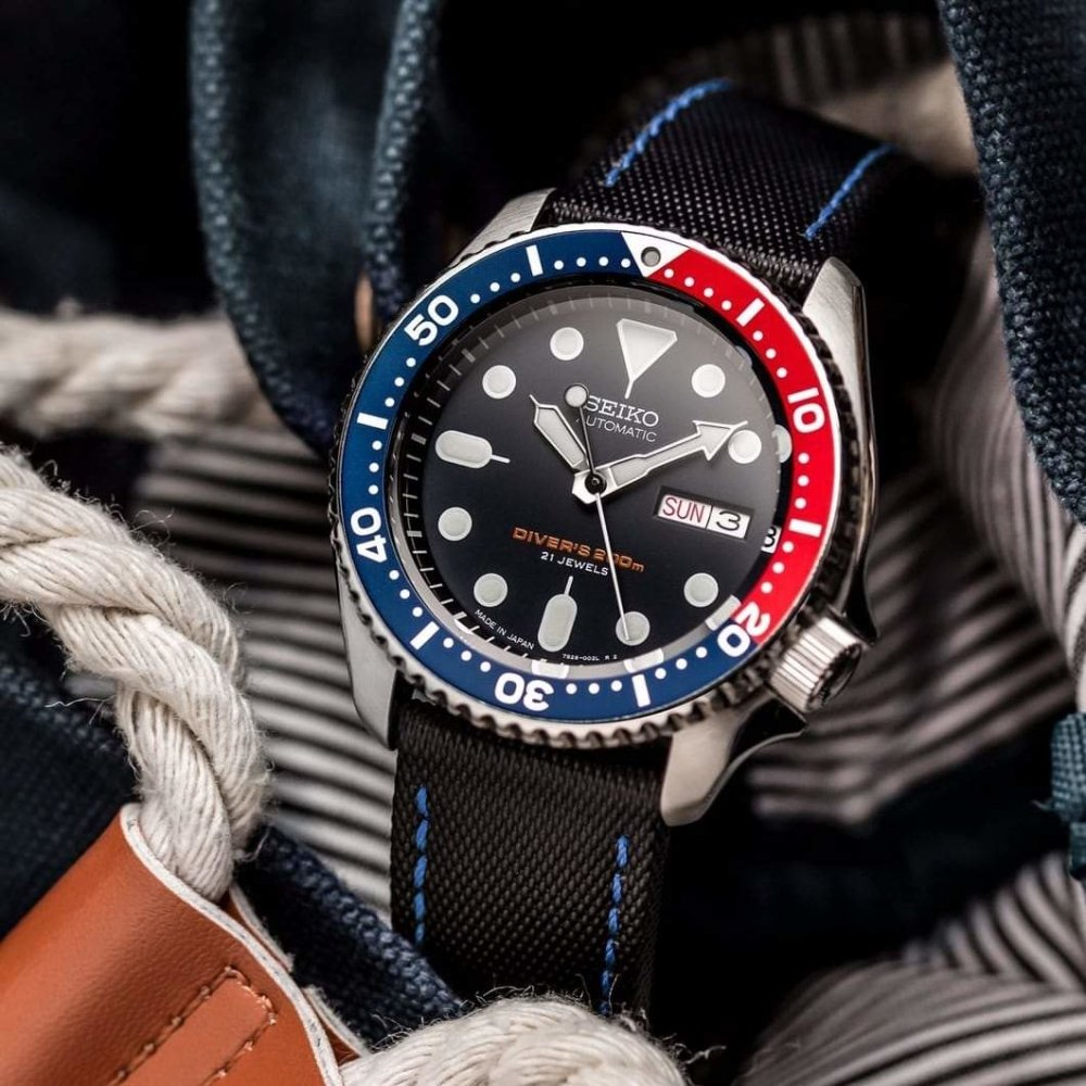KLOCKARMBAND - SAIL STRAP - SAILCLOTH WATCH STRAP - BLACK / BLUE - ROYAL STRAPS