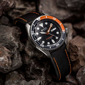 KLOCKARMBAND - SAIL STRAP - SAILCLOTH WATCH STRAP - BLACK / ORANGE - ROYAL STRAPS