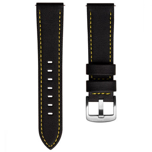 KLOCKARMBAND - SAIL STRAP - SAILCLOTH WATCH STRAP - BLACK / YELLOW - ROYAL STRAPS