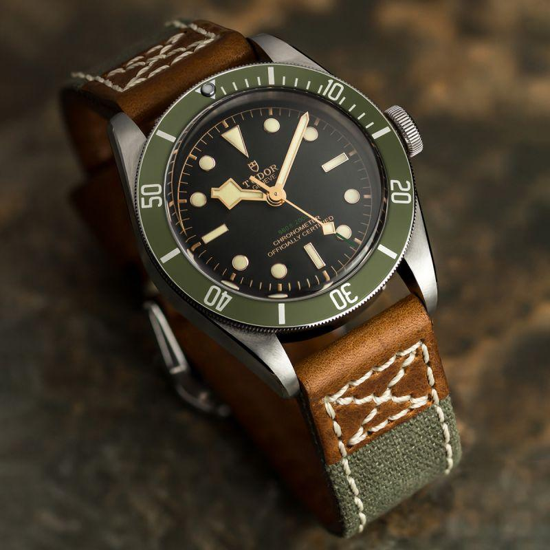 KLOCKARMBAND -ZULUDIVER MILITARY DENIM CANVAS - GREEN - ROYAL STRAPS
