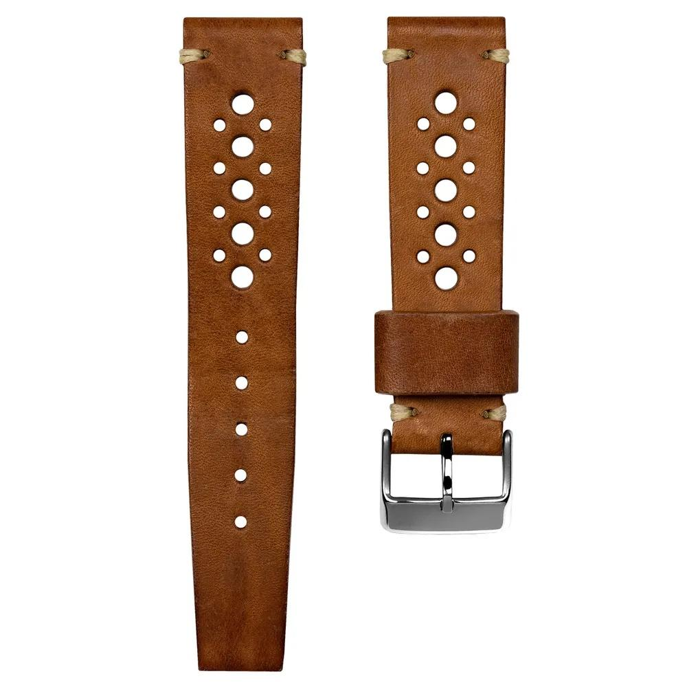 SUPER DEAL - GECKOTA HANDMADE VINTAGE RACING - LIGHT BROWN - ROYAL STRAPS