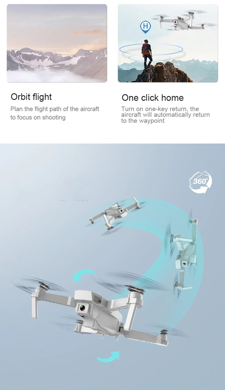 Drone 2 Pro - 4K, 1080P, 720P Camera   With 1, 2 and 3 Battery Options   360 degree rotation - Million Plaza