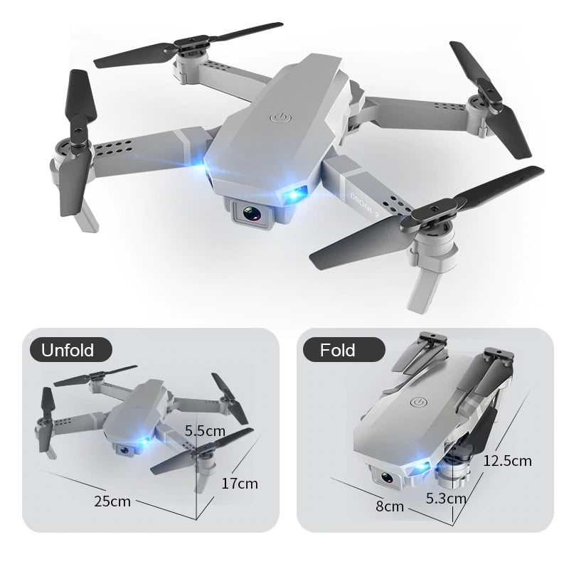 Drone 2 Pro - 4K, 1080P, 720P Camera | With 1, 2 and 3 Battery Options | Done fold and unfold size - Million Plaza