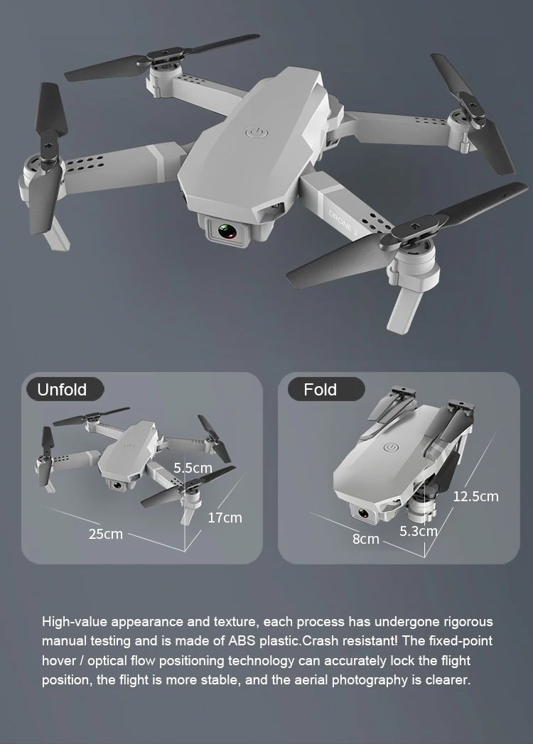 Drone 2 Pro - 4K, 1080P, 720P Camera | With 1, 2 and 3 Battery Options | Unfold and fold specifications- Million Plaza