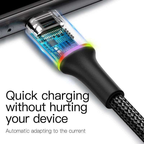 Baseus LED Lighting USB Type C Cable 3A Fast Charging - Million Plaza
