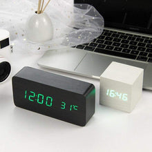 Load image into Gallery viewer, LED Wooden Clock With Voice Control Alarm Temperature - Million Plaza