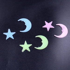 [100 pcs] 3D Star and Moon Luminous Wall Stickers | Glow In The Dark - Million Plaza