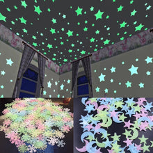 Load image into Gallery viewer, [100 pcs] 3D Star and Moon Luminous Wall Stickers | Glow In The Dark - Million Plaza