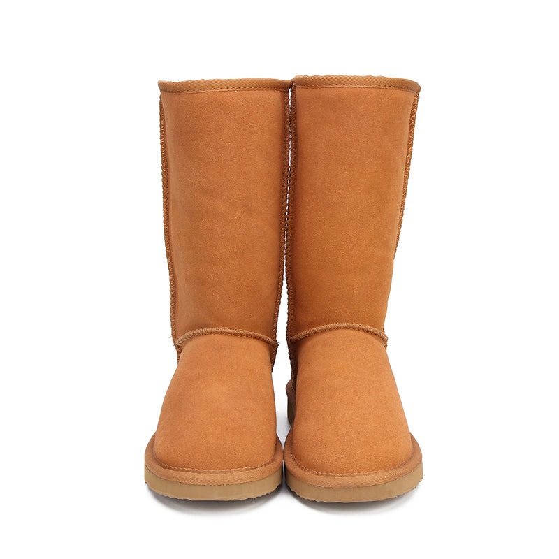 Leather Winter Warm Snow Boots For Women Front - Million Plaza