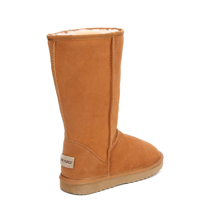 Leather Winter Warm Snow Boots For Women Side View - Million Plaza