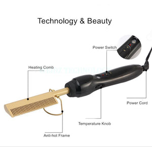 Afro Hair Straightener Hot Comb Electric Straightening Comb - Haarglättungskamm mit Temperaturregler - YLKgood