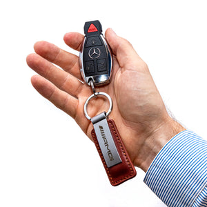 Mercedes-AMG Brown Leather Keychain
