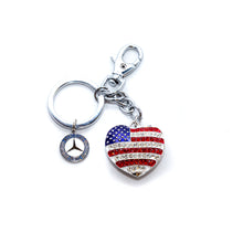 Mercedes-Benz Patriotic Heart Keychain