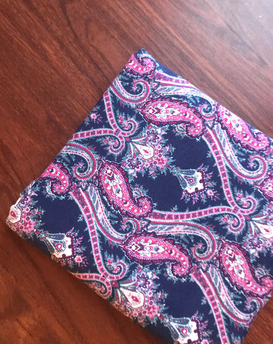 Navy Magenta Paisley Cotton Lycra