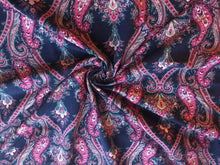 Load image into Gallery viewer, Navy Magenta Paisley Cotton Lycra