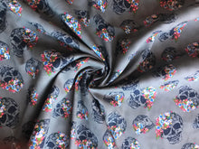 Load image into Gallery viewer, Grey Floral Skull Stretch Twill