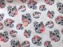Load image into Gallery viewer, Puter Skull Floral Stretch Twill