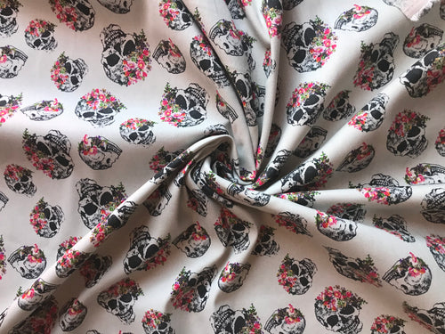 Puter Skull Floral Stretch Twill