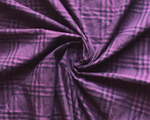 Load image into Gallery viewer, Plum Black Plaid Cotton Woven