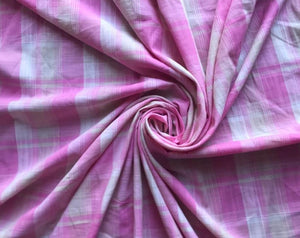 Pink Ivory Plaid Cotton Woven