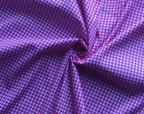 Hot Pink Gingham Cotton Stretch Twill