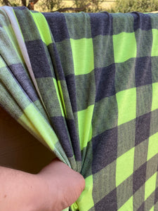 2 yard cut Lime Green Checker French Terry