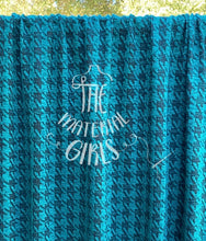 Load image into Gallery viewer, Teal Black Houndstooth Sweater Knit