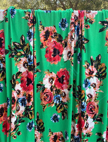 Kelly Green March Floral Brushed  Polyester Spandex