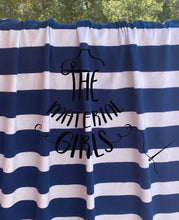 Load image into Gallery viewer, Navy White 1in Stripe Cotton Jersey