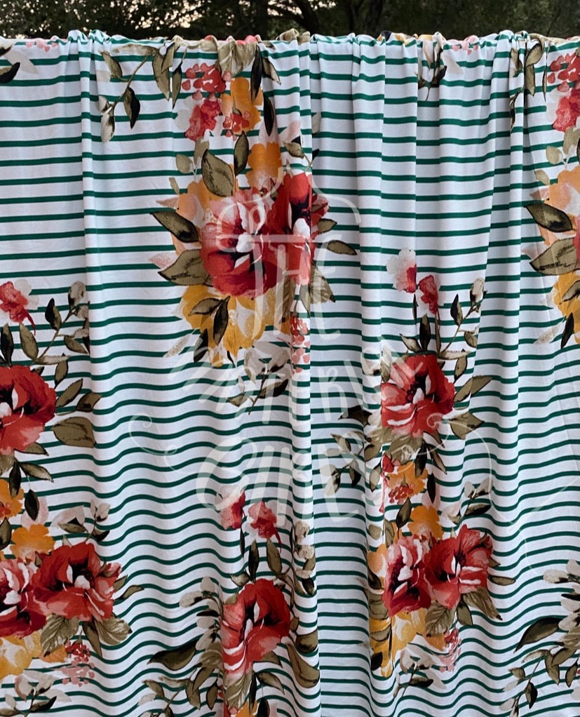 Ivory Striped Floral Double Brushed  Polyester Spandex