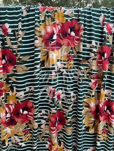 Hunter Striped Floral Double Brushed  Polyester Spandex