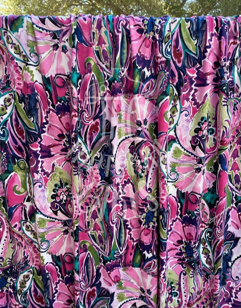Multi Color Paisley Floral Double Brushed  Polyester Spandex