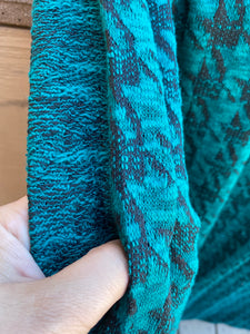 Teal Black Houndstooth Sweater Knit