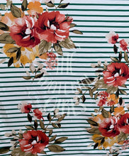 Load image into Gallery viewer, Ivory Striped Floral Double Brushed  Polyester Spandex