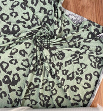 Load image into Gallery viewer, Mint/Charcoal Leopard Slubbed Rayon Jersey