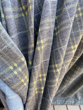Load image into Gallery viewer, Grey, Ochre, & Ivory Plaid French Terry