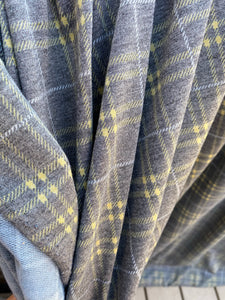 Grey, Ochre, & Ivory Plaid French Terry