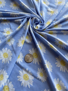 Blue Daisy Double Brushed Polyester Spandex