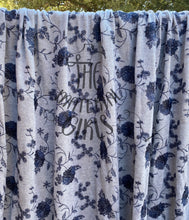 Load image into Gallery viewer, Grey with Blue Embroidered Floral French Terry