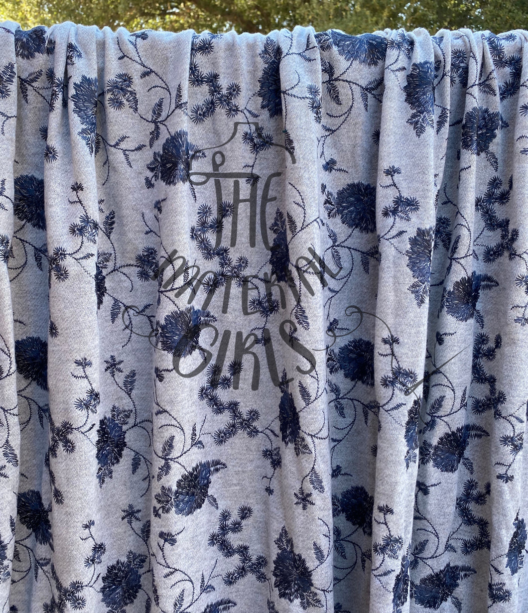 Grey with Blue Embroidered Floral French Terry