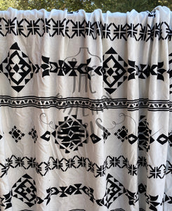 2y cut Black  & White Geo Modal Cotton Spandex French Terry