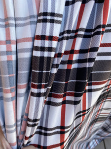 White, Grey, Charcoal, Brick Red Plaid Polyester Spandex