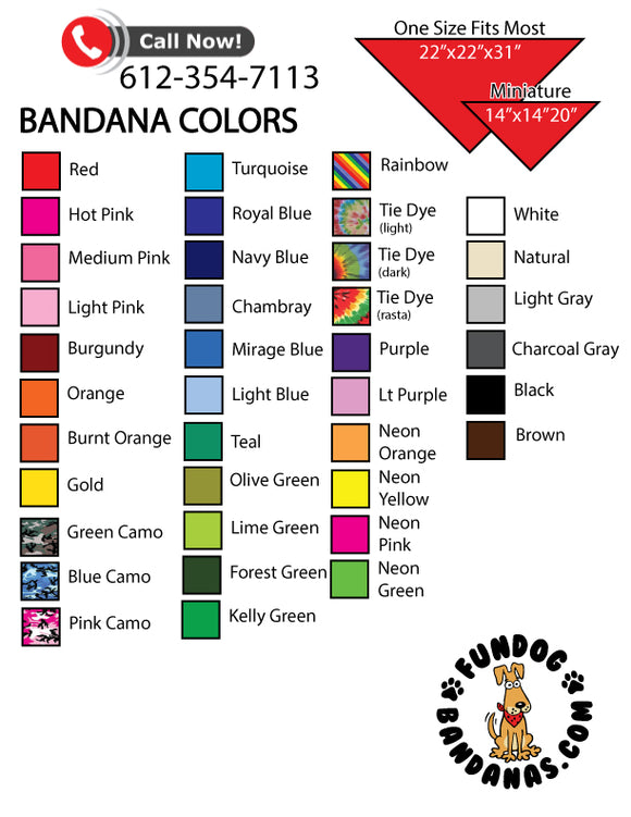 Solid Color Bandanas - No Tags