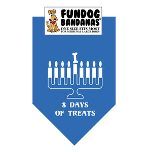 Mirage Blue one size fits most dog bandana with 8 Days of Treats and a Menorah in white ink.