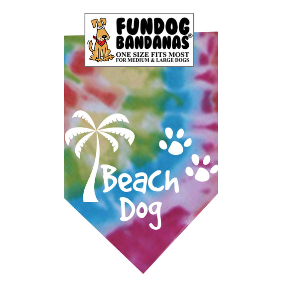 Brightly colored tie dye one size fits most dog bandana with Beach Dog, a palm tree and 2 paws in white ink.