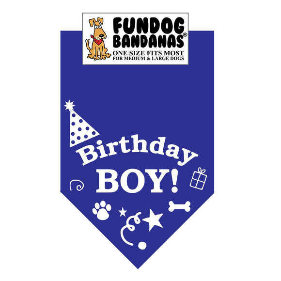 Wholesale 10 Pack - Birthday Boy Bandana - Royal Blue - FunDogBandanas