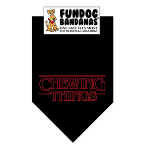 Wholesale 10 Pack - Chewing Things Bandana - Black Only - FunDogBandanas